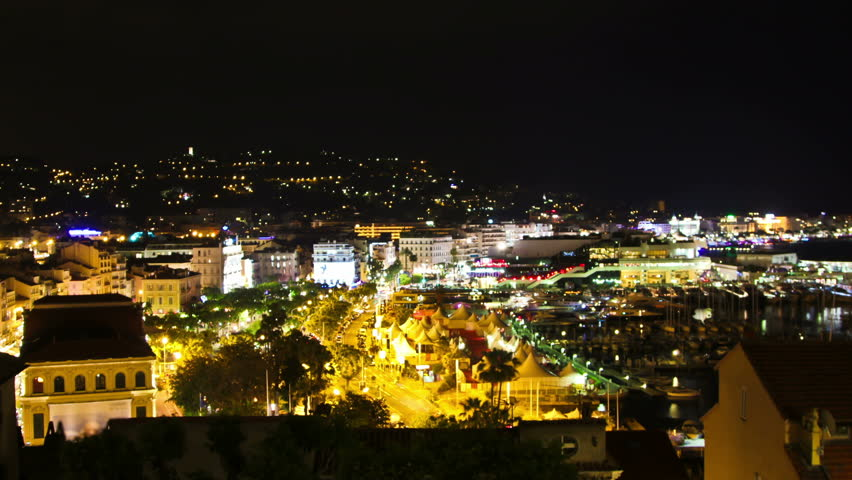 Time lapse of Cannes Film Festival at night. | Shutterstock HD Video #11800139
