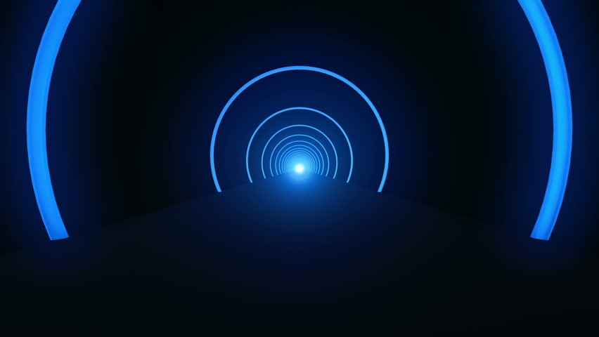 Animation fast moving in tunnel with rings from neon light. Abstract background of technology. Animation of seamless loop. | Shutterstock HD Video #11802200