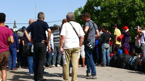 TOVARNIK, CROATIA - SEPTEMBER 19: Scene in the Refugee camp to the border of Serbia on September 19, 2015 in Tovarnik, Croatia.