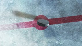 Hockey Puck Drop. animated puck drops from above and hits ice. 3 clips. 1st clip is puck drop on ice. 2nd clip is puck drop on black. 3rd clip is luma matte of puck to isolate it from the background.