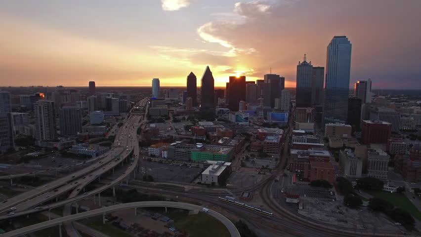 Aerial video of Dallas, Texas.