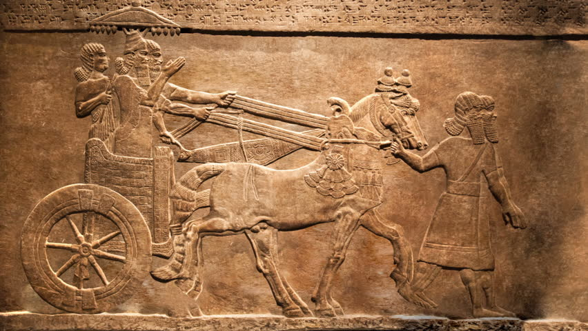 King's hunt. Relief from Palace of Assurbanipal in Nineveh, Assyria