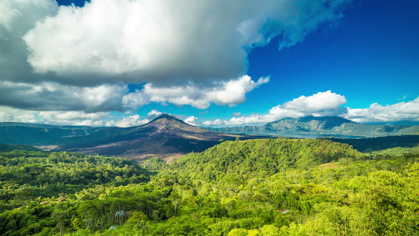4K Timelapse. Panoramic views of volcano Gunung Batur. 15 July 2015, Bali, Indonesia