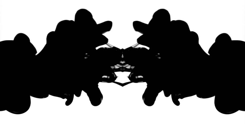 Black ink in water, reflected like a Rorschach inkblot test, moving gracefully and hypnotically