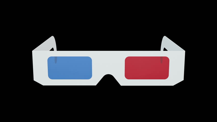 A pair of retro-style anaglyph 3D glasses rotates on black background. Alpha channel included. Seamless loop.