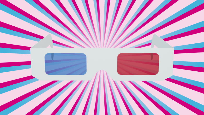 A pair of retro-style anaglyph 3D glasses rotates on starburst background. Alpha channel included. Seamless loop.