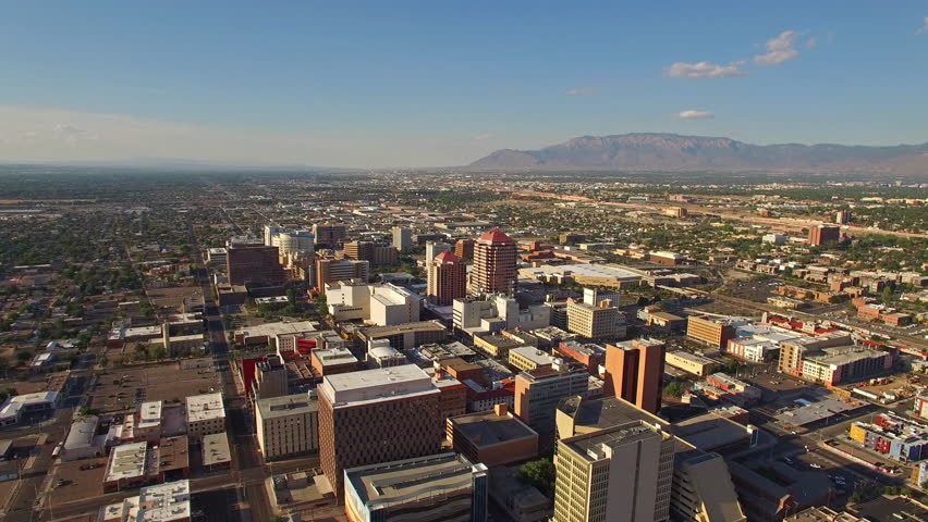 Aerial video of Albuquerque New Mexico during the day.