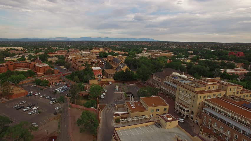 Aerial video in Santa Fe, New Mexico.