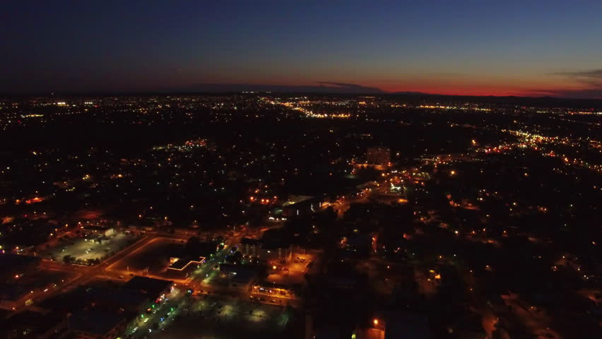Aerial video of Albuquerque, New Mexico at night.