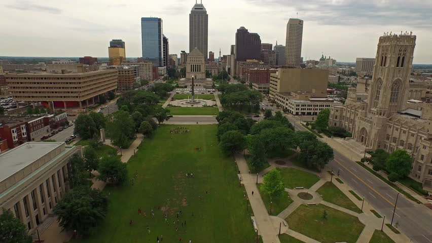 Aerial video of Indianapolis in Indiana.