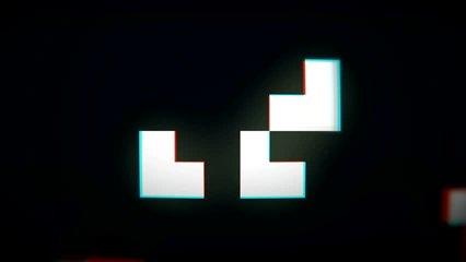 Old school pixels flickering animation on black background
