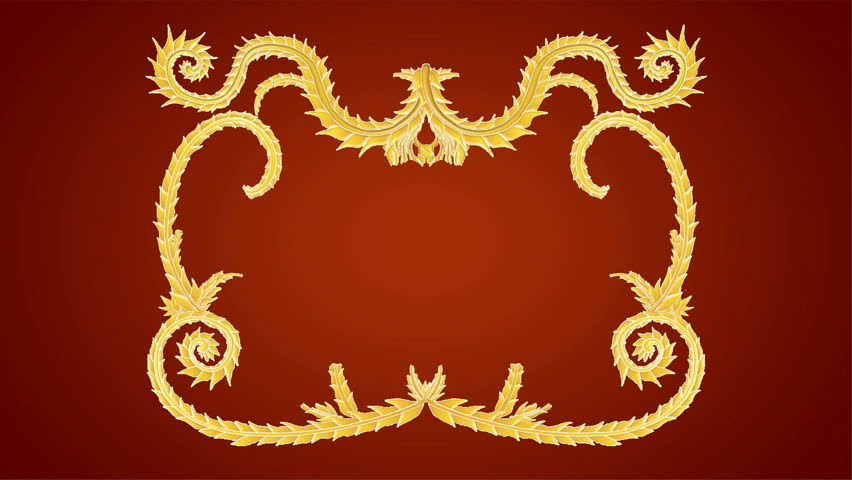 Growing golden elements forming a title framing red background. HD CG animation.