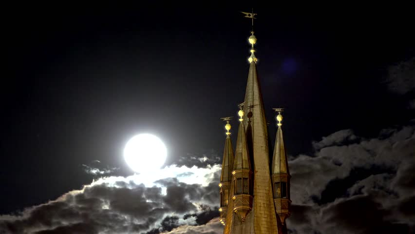 Fabulous top of the castle tower with a full moon. | Shutterstock HD Video #11898755