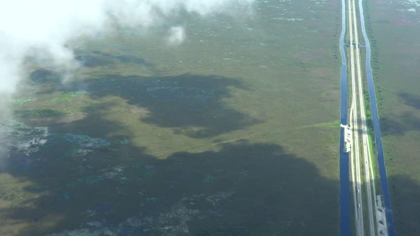 Alligator Alley highway crossing Everglades East/West, 4k AERIAL view