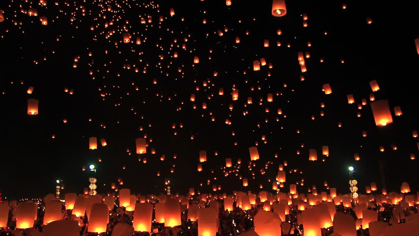 Highlight Floating lanterns in Yee Peng Festival, Loy Krathong celebration in Chiangmai, Thailand  | Shutterstock Video #11945582