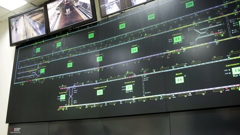 Sofia, Bulgaria - September 17, 2015: Control room for the subways of Sofia, Bulgaria. Traffic maps and video monitoring surveillance system.