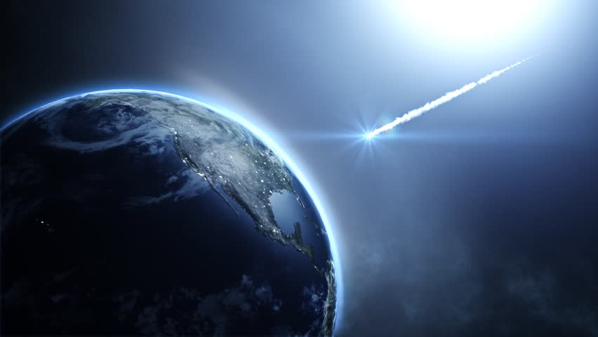 Asteroid strike over Earth. 3D Animation of Meteor Impact causing apocalypse.