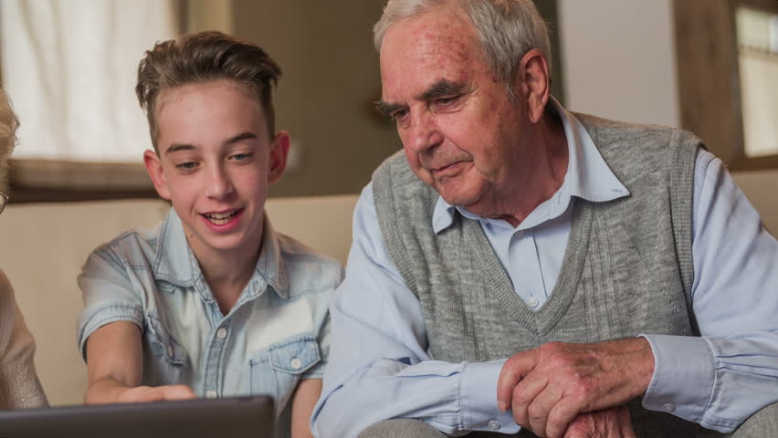 Boy Educate Elderly Person About Arkivvideomateriale (100 ...