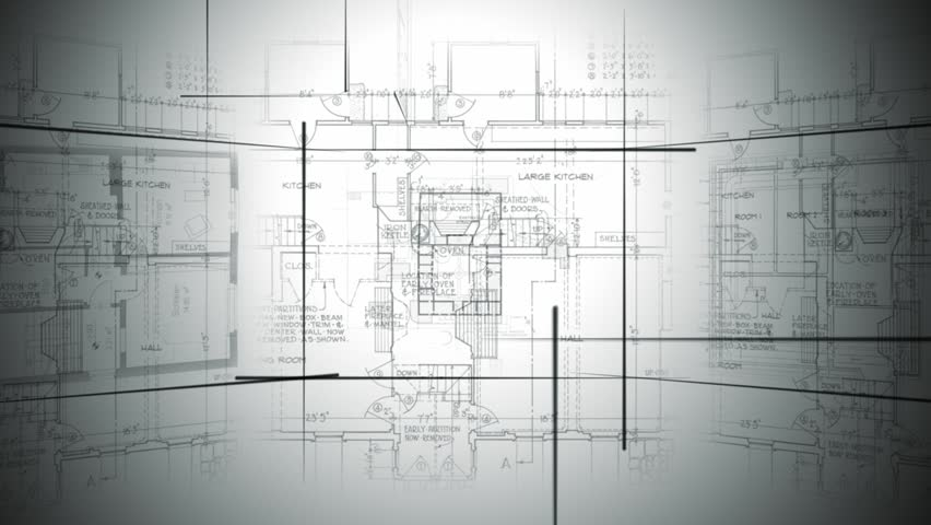 Architectural plans fill the screen for a suitable loopable background for your renovation, design and decor show. | Shutterstock HD Video #11964242