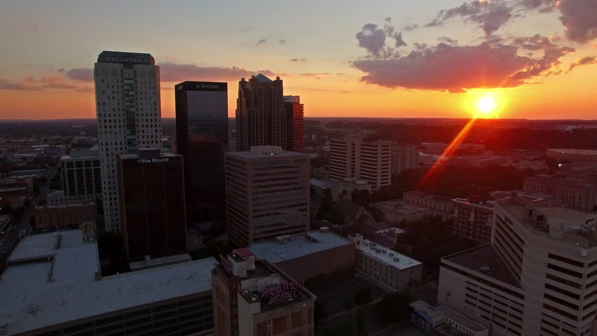 Aerial video of Birmingham Alabama at sunset. circa 2012