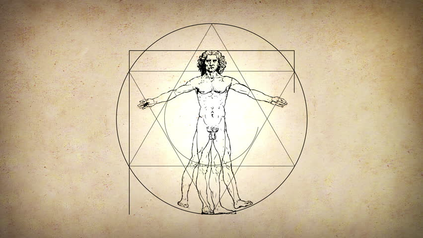 Animated Vitruvian Man by Leonardo Da Vinci