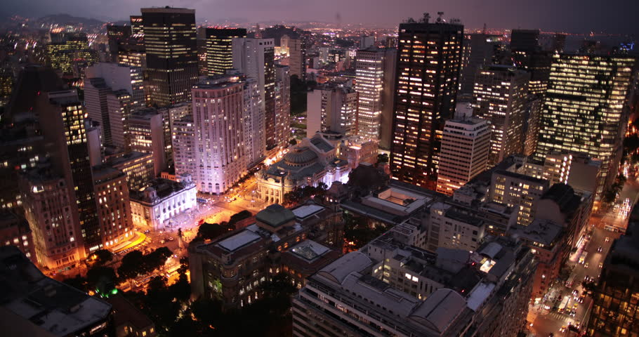 Downtown Rio de Janeiro time lapse at night 4K. Overhead rooftop shot. Shot with CANON 6D in 4K DCI Native Resolution. | Shutterstock HD Video #11996792