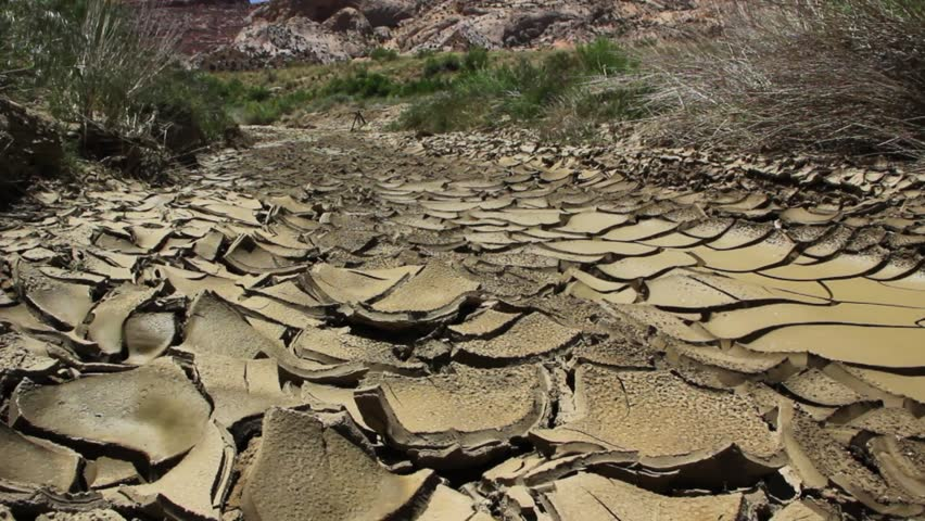 The dry cracked earth in the dried up stream bed of the desert