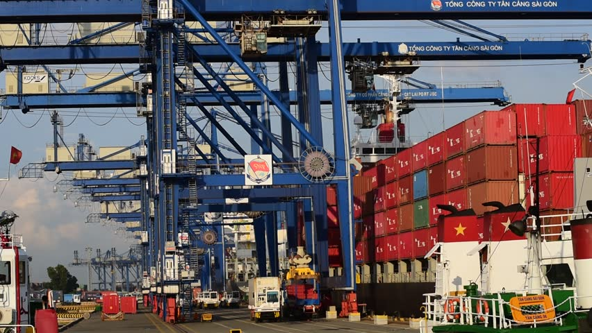 HO CHI MINH, VIETNAM - OCTOBER 2, 2015: The Cargo port in Cat Lai in Saigon in Ho Chi Minh city, Vietnam. Ho Chi Minh city is the biggest city in Vietnam.  | Shutterstock HD Video #12008426