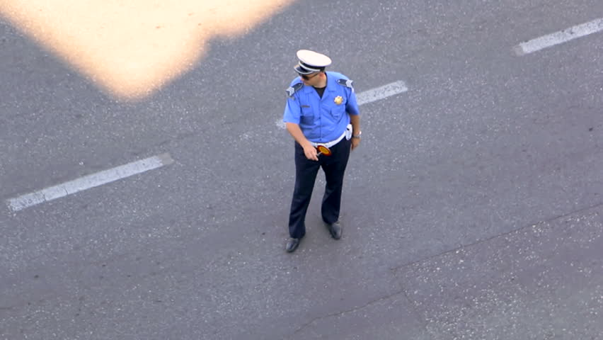 MONTENEGRO - PODGORICA 2015 - Policeman check a driver on the street #12016391