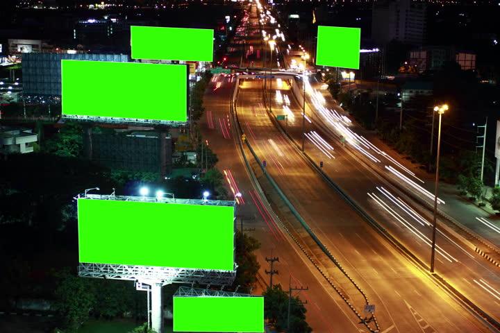 Timelapse super highway with green screen billboard    Shutterstock HD Video #12029546