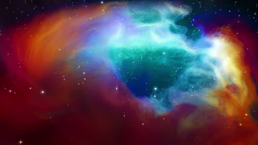 Journey around and through nebula and stars - low angle, real 3D volumetrics #12030290