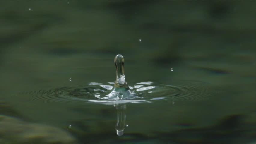 SLOW MOTION MACRO: Water drop falling into the lake splashing around #12031886