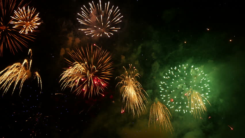Fireworks. Holiday celebration. Colorful fireworks at holiday night. 4K UHD.