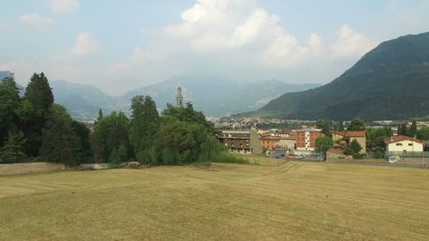 Valmadrera Landscape, Lecco, an aerial view of an old church