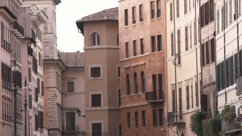 Italy - October, 2012: A shot of some apartment buildings in Rome Italy.