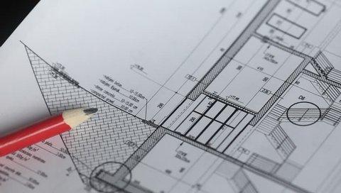Architectural plan blueprint. Trucking camera.