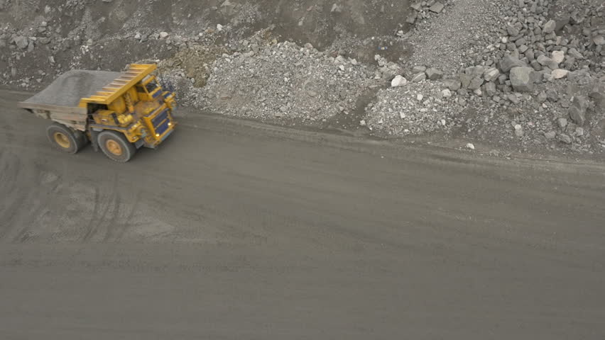 Aerial shot of a loaded dump truck
