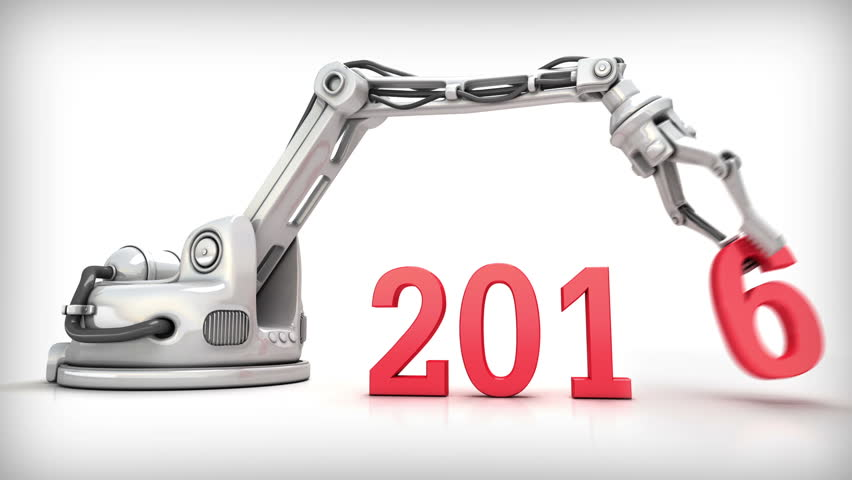 New Year and  High Technology. Christmas 3d animation. Industrial robotic arm changes calendar date 2015 for  2016