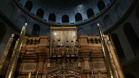 JERUSALEM, ISRAEL - April 9, 2015: Church of the Holy Sepulchre. The Holy Sepulchre also called the Church of the Resurrection is known as the place of Jesus Christ crucifixion and resurrection.
