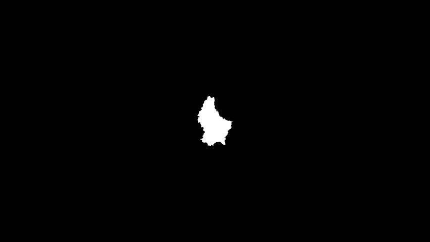 Alpha matte transition with map outlines of Luxembourg. Ideal for travel presentations, tourism promos and similar. | Shutterstock HD Video #12115805