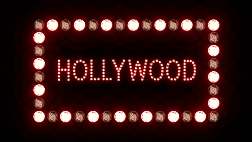 Hollywood Sign With A Border Of Flashing Lights On Black Background Looping Video Contains Alpha Mask Stock Footage 1212190 Shutterstock