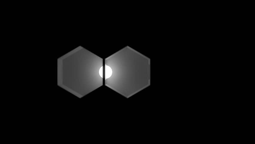 White luminous sphere flying through the hexagonal black rooms. Seamless #12122231