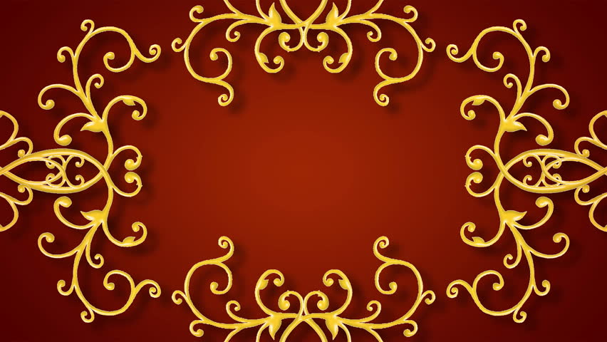 Growing golden elements forming a title framing, red background. HD CG animation.