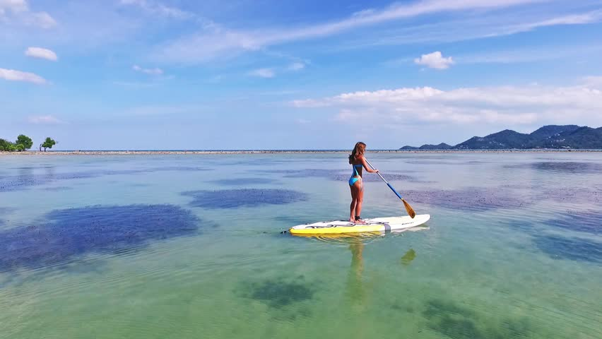Stand Up Paddle Board Woman Stock