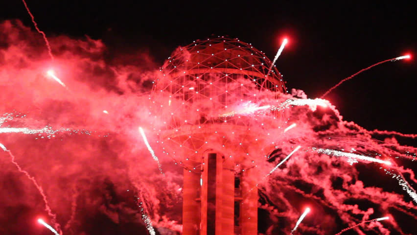 REUNION TOWER, DALLAS, OCT 9: Fireworks coming directly from the Reunion Tower in Downtown Dallas to celebrate the annual Red River Rivalry College Football Game at the Cotton Bowl. Dallas Oct 9. 2015
