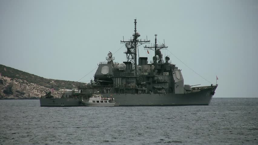 Ticonderoga Class USS Gettysburg anchored in Benidorm