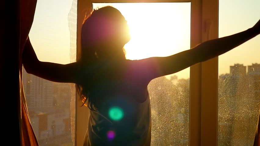 Attractive Young Woman Opens Curtains Stock Footage Video (100% Royalty-free) 12174005   Shutterstock
