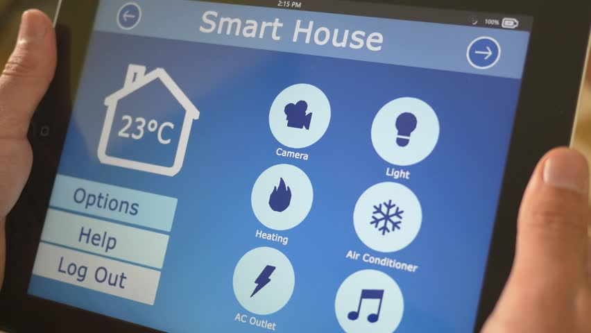 Smart house automation application on tablet controling the temperature of the building. The market is expected to grow of 11.36% between 2014/2020, and reach $12.81 billion by 2020. | Shutterstock HD Video #12176585