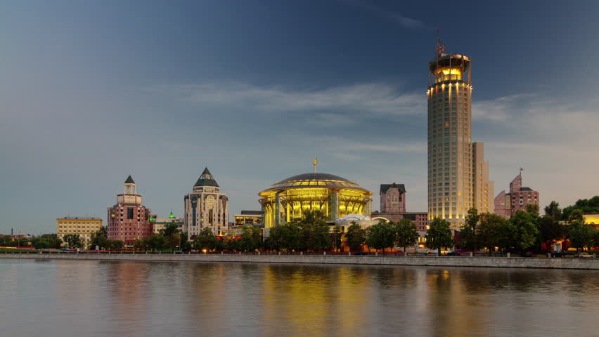 Sunset moscow river bay international house of music 4k time lapse russia