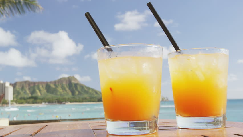 Drinks Tails On Tropical Beach